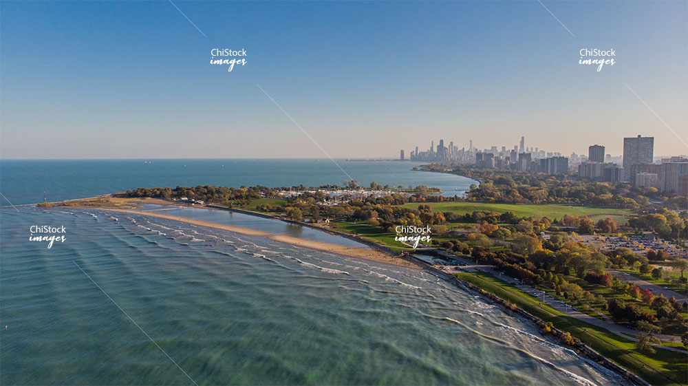 Aerial View of Montrose Beach Uptown Chicago
