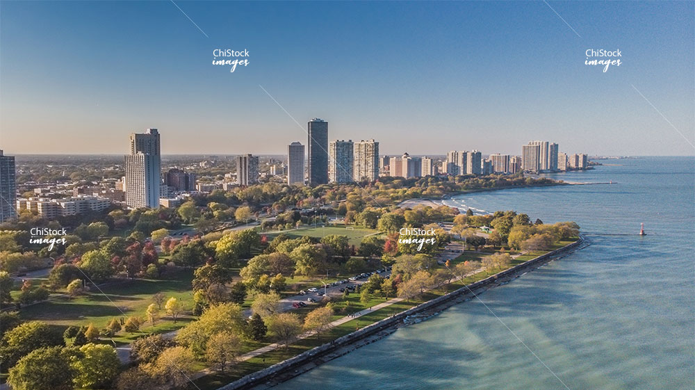 Aerial Drone View of Montrose Beach and Lake Shore Drive Uptown Chicago