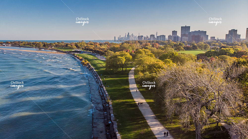 Aerial Drone View of Montrose Beach Uptown Chicago