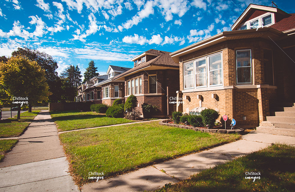 Bungalows on a Side Street in Washington Heights Chicago