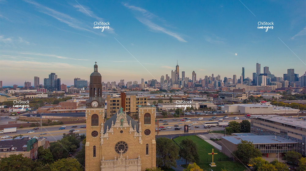 Aerial Drone View of West Town Chicago