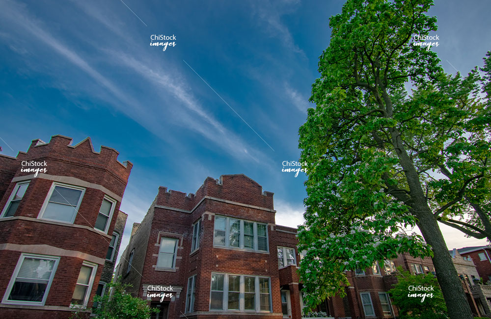 Tops of Three-Flat Residential Homes in Austin Chicago