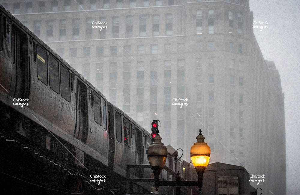 CTA Train on a Snowy Day Loop Chicago