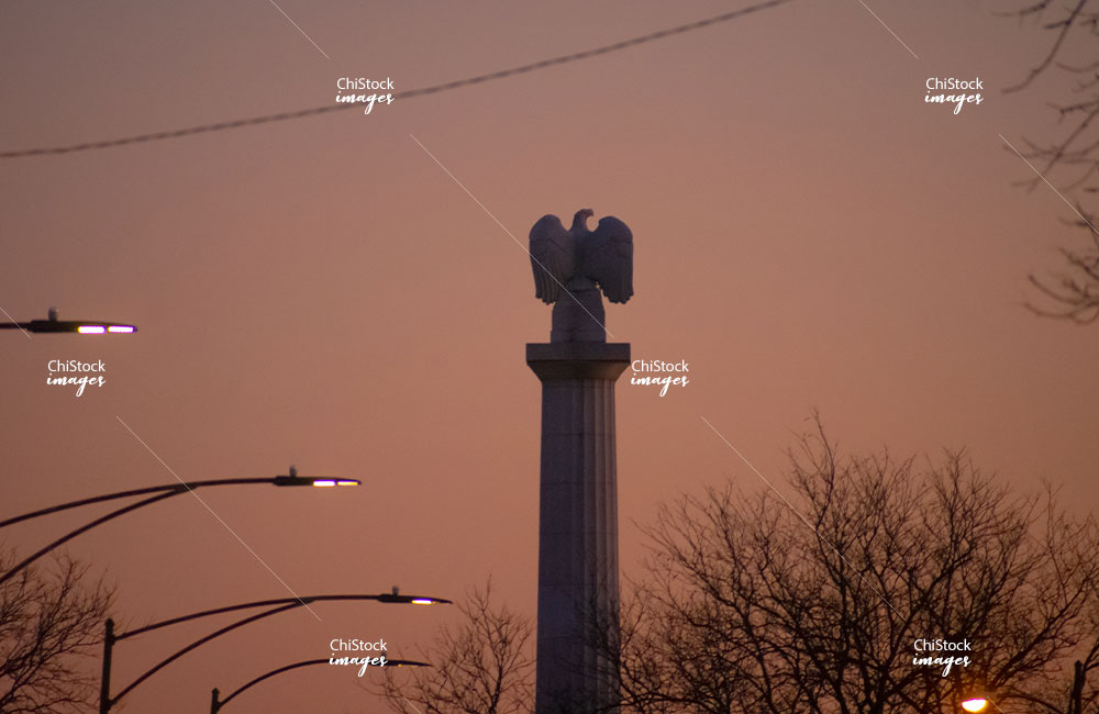 Illinois Centennial Monument at Dusk Logan Square Chicago