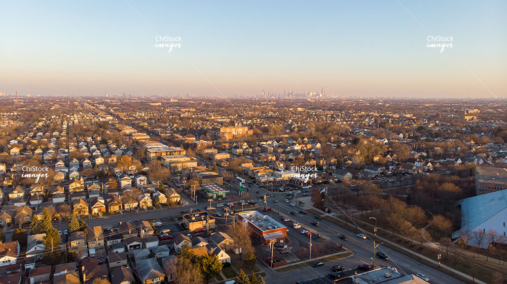 Aerial Drone View of Dunning Chicago