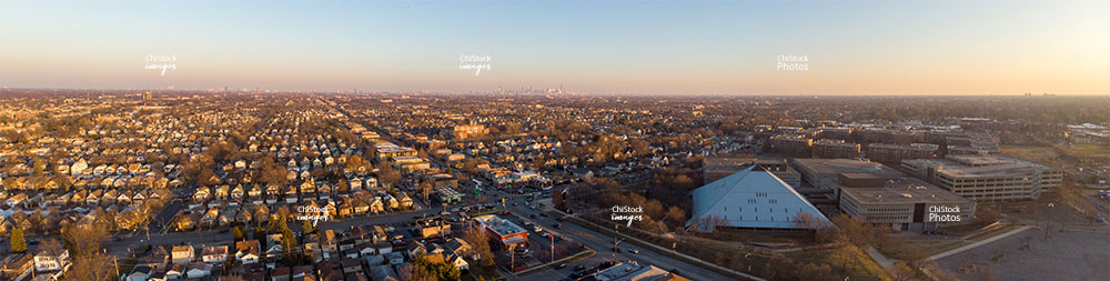 Aerial Panorama Drone View of Dunning Chicago