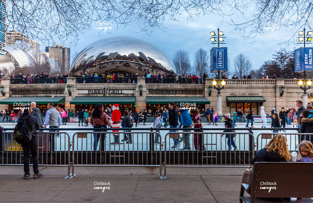Crowds at the Millennium Park Ice Skating Rink with Cloud Gate in the Background
