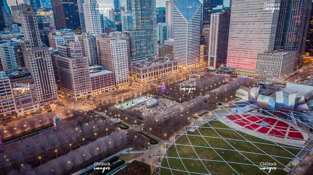 Aerial View of Millennium Park Cloud Gate and Jay Pritzker Pavilion