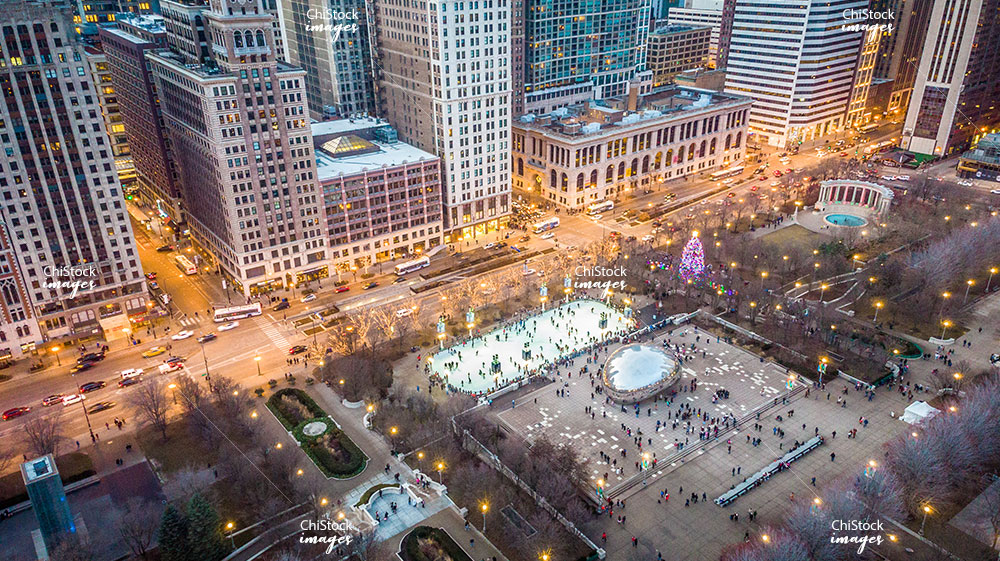 Aerial View of Millennium Park Christmas Tree Ice Skating Rank and Cloud Gate