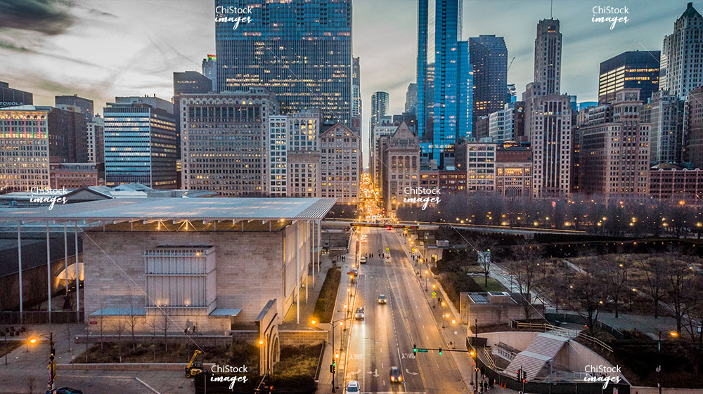 Aerial View Above Monroe Street and The Art Institute Chicago Modern Wing