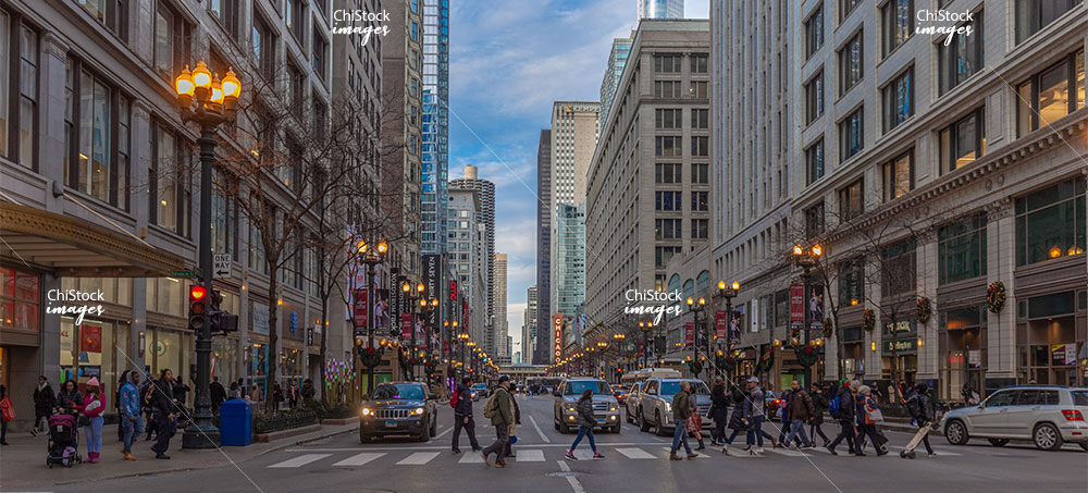 State Street and Monroe Intersection Downtown Loop Chicago