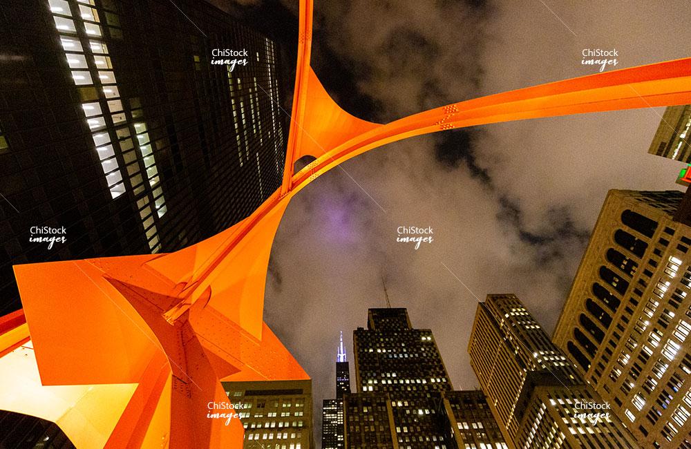 Calder's Flamingo at The Federal Plaza at Night Loop Chicago