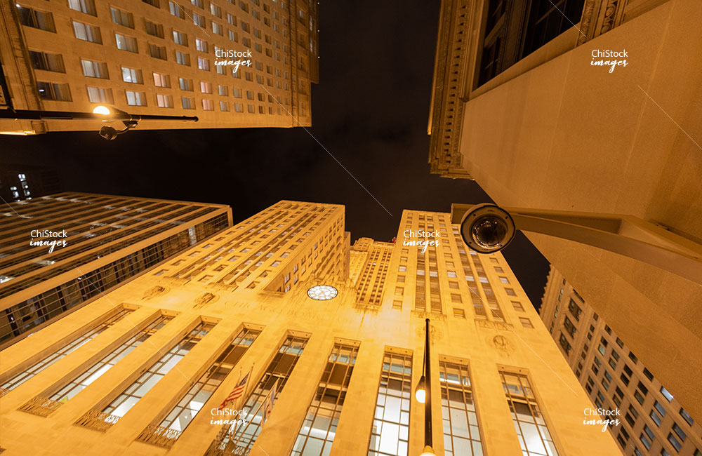 Downtown Financial District at Night Loop Chicago