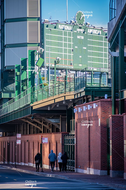 Wrigley Field Scoreboard from Waveland Ave Lake View Chicago