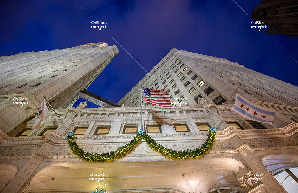 Wrigley Building at Night During the Holidays Near North Side Chicago