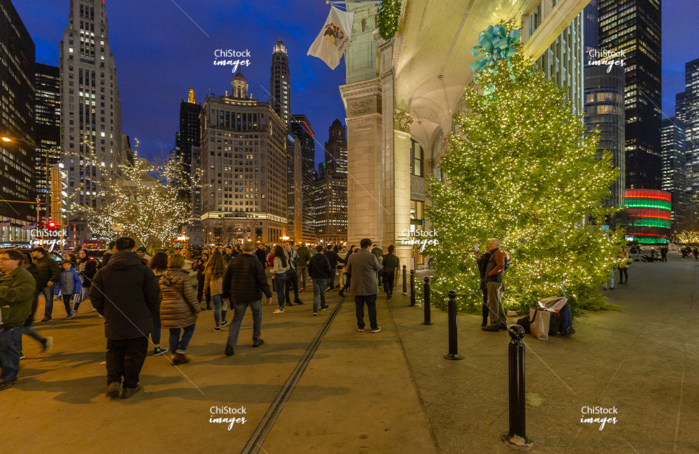 Crowds at the Wrigley Building at Night During the Holidays Near North Side Chicago