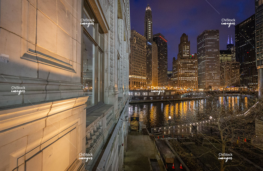Wrigley Building and the Chicago River at Night