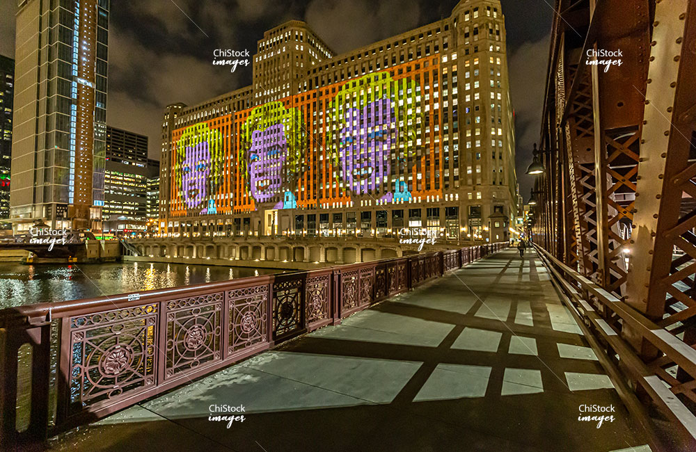 Art at the Merchandise Mart at Night Near North Side Chicago