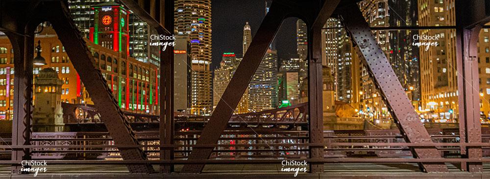 Wells Street Bridge at Night Near North Side Chicago