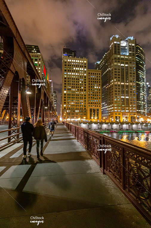 Wells Street Bridge at Night Looking Towards the Loop, Near North Side Chicago