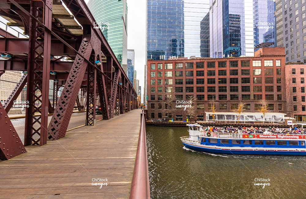Boat Tour On Chicago River under Lake Street Bridge Loop Chicago