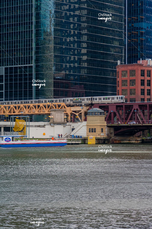 CTA Train Above The Chicago River Loop