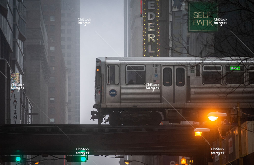 Green Line L Train Above State Street Loop Chicago