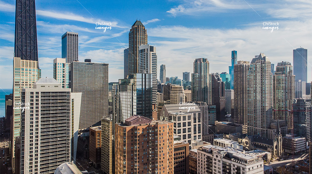 Aerial Drone Skyline of Near North Side Chicago