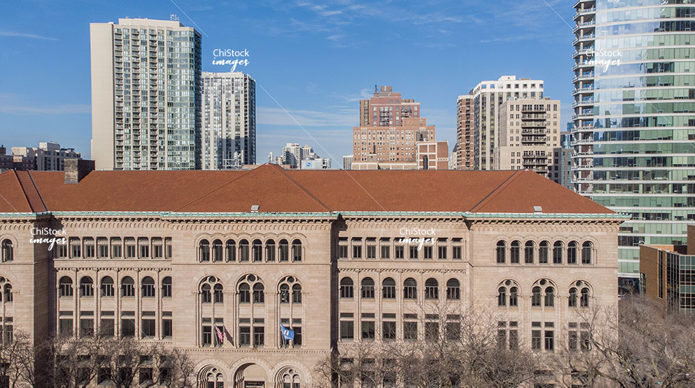 Aerial Drone of Newberry Library in Near North Side Chicago