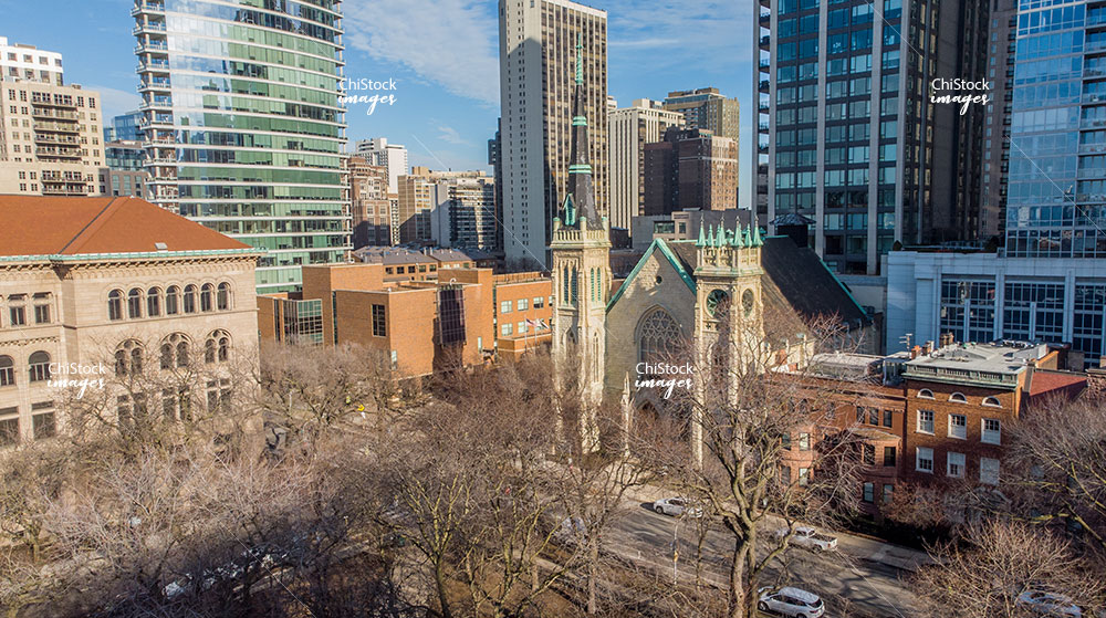 Aerial Drone of Newberry Library and Harvest Chicago Cathedral in Near North Side Chicago