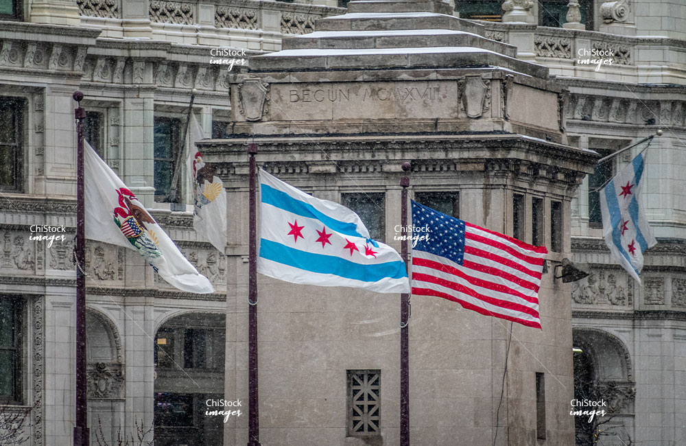 Windy Chicago Illinois and USA Flags Near North Side