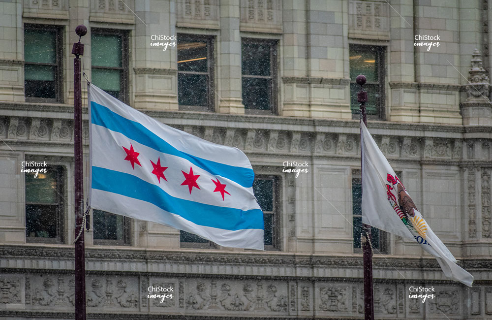 Windy Chicago and Illinois Flags Near North Side