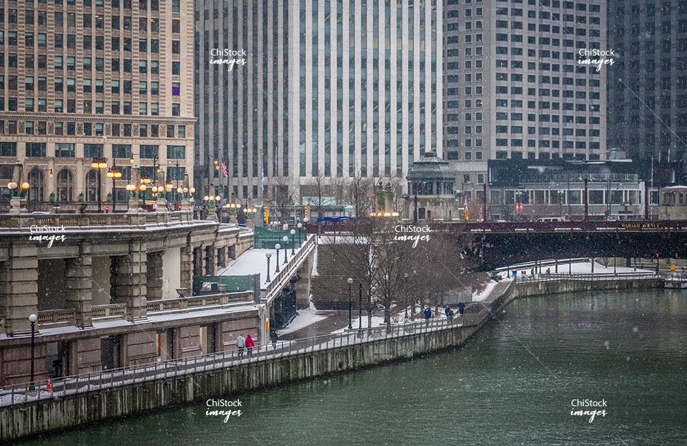 Chicago Riverwalk From Near North Side Chicago