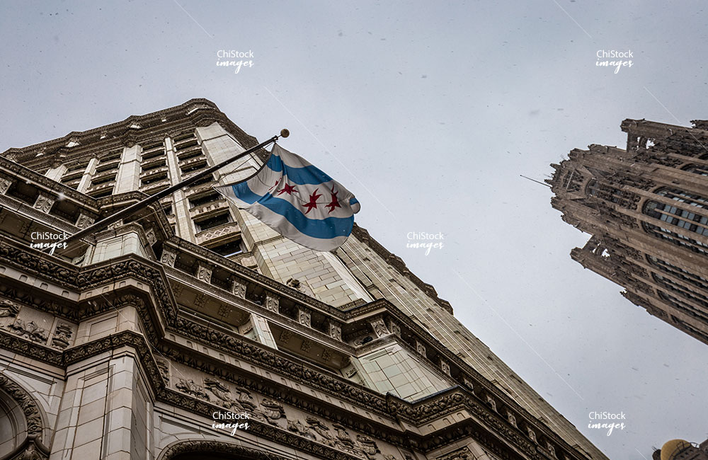 Chicago Flag on The Wrigley Building Near North Side