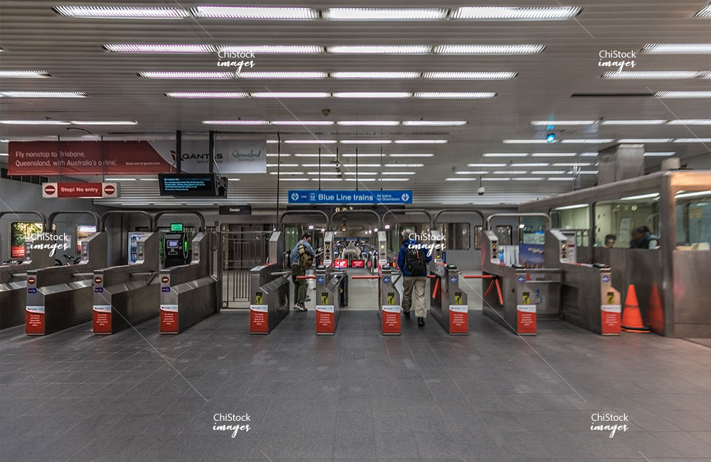 CTA Blue Line Station at the O'Hare International Airport Chicago