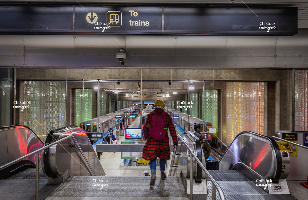 Blue Line Station at the O'Hare International Airport Chicago