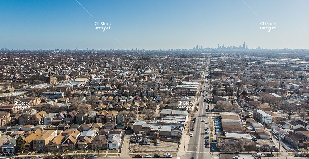 Aerial View of Belmont Cragin Grand Avenue With Chicago Skyline