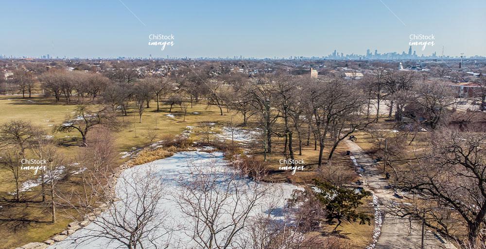 Aerial View of Riis Park Belmont Cragin Chicago