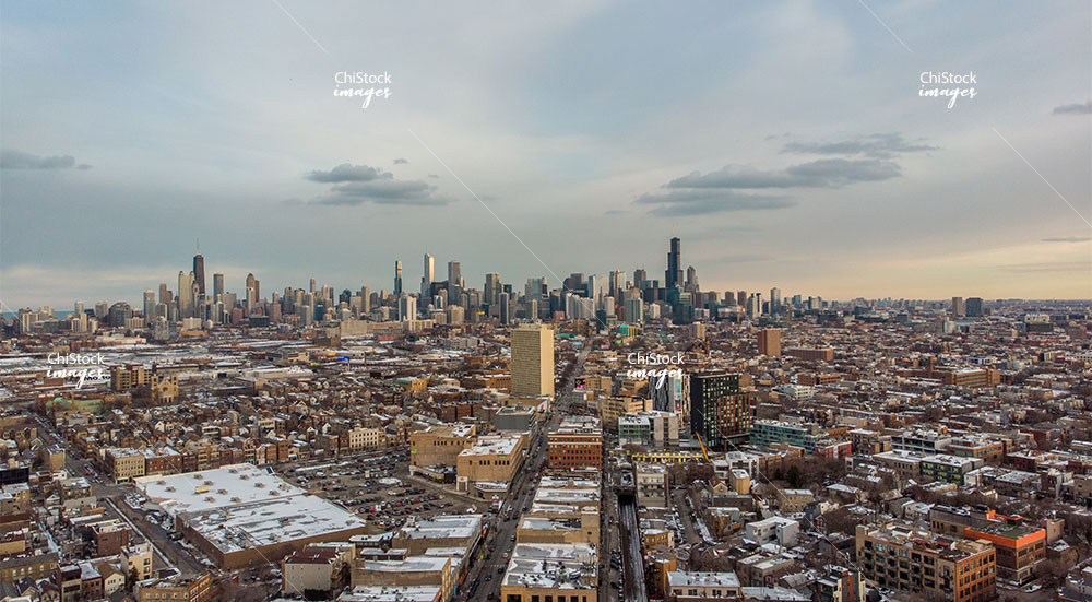 Aerial View of Skyline in West Town Chicago