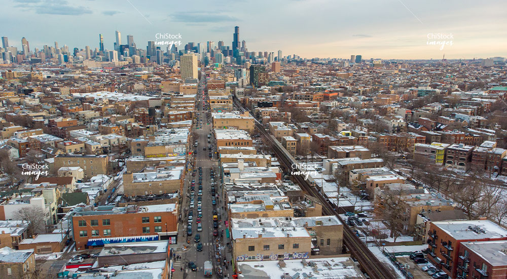 Aerial View Above Milwaukee Ave West Town Chicago
