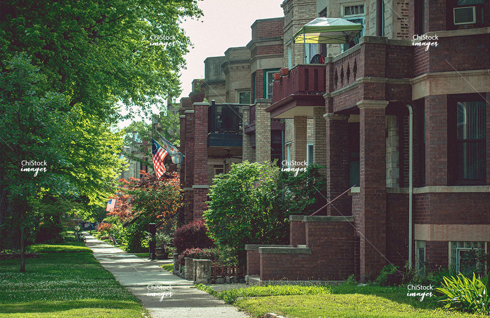 Residential Side Street with American and Chicago Flags in Lincoln Square