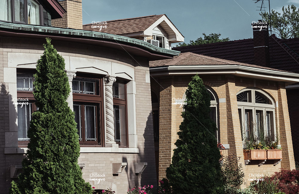 Row of Historic Bungalows on a Side Street in Lincoln Square Chicago