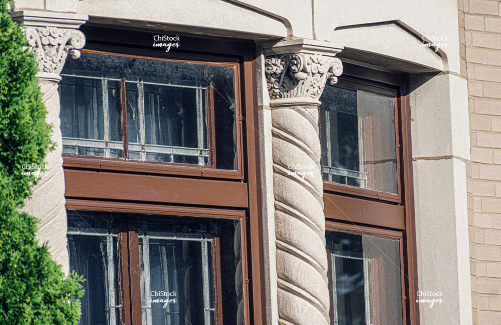 Close up of Architectural Detail on a Bungalow in Lincoln Square Chicago