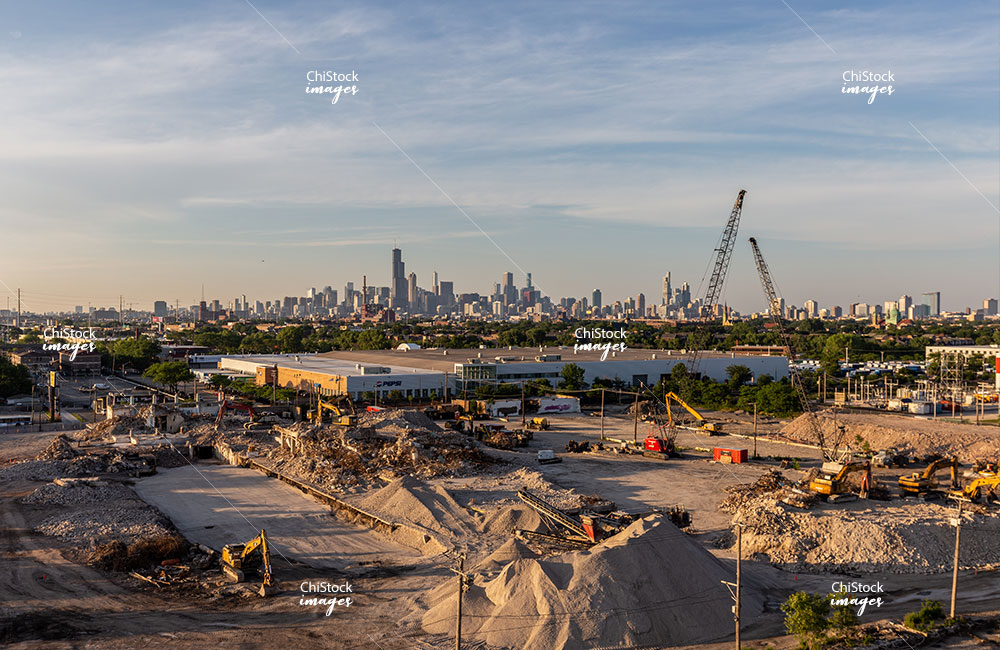 Wrigley Gum Factory Demolition in McKinley Park With Skyline in Background