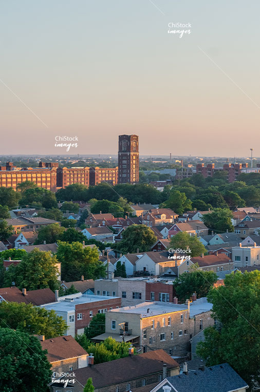 Central Manufacturing District Alongside Residential Homes in McKinley Park Chicago at Sunset