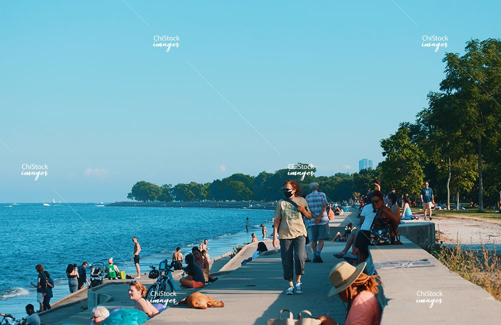 Crowds of People at Chicago's Lakefront Lake View