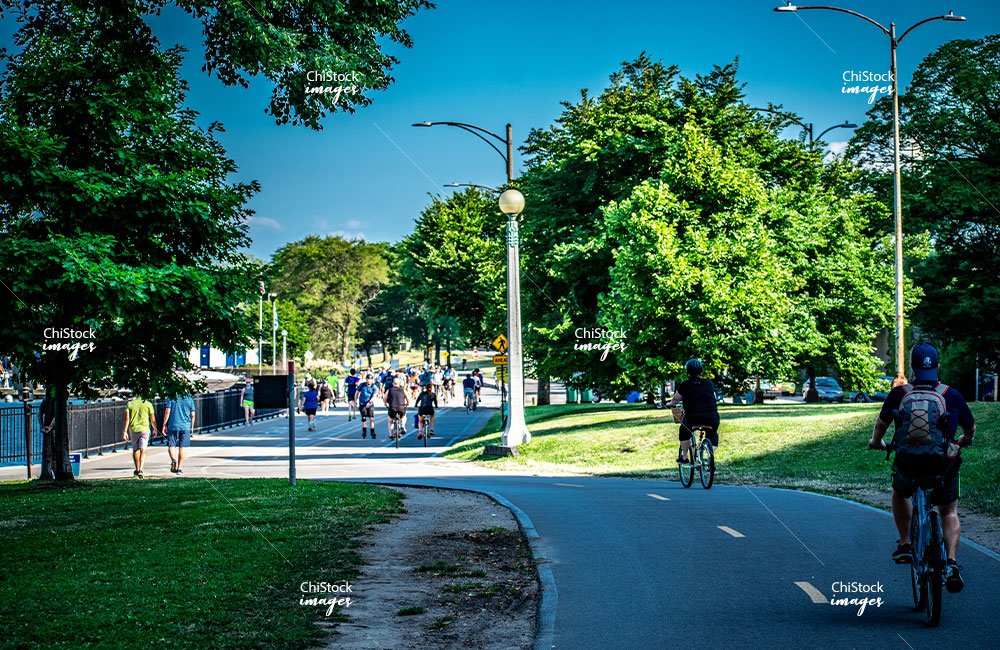 Bikers and Runners Along Chicago's Lakefront Trail at Belmont, Lake View