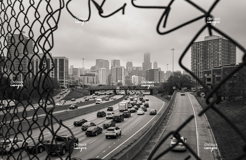 Back and White View Above the I-90 Expressway with Traffic and the Chicago Skyline in Background