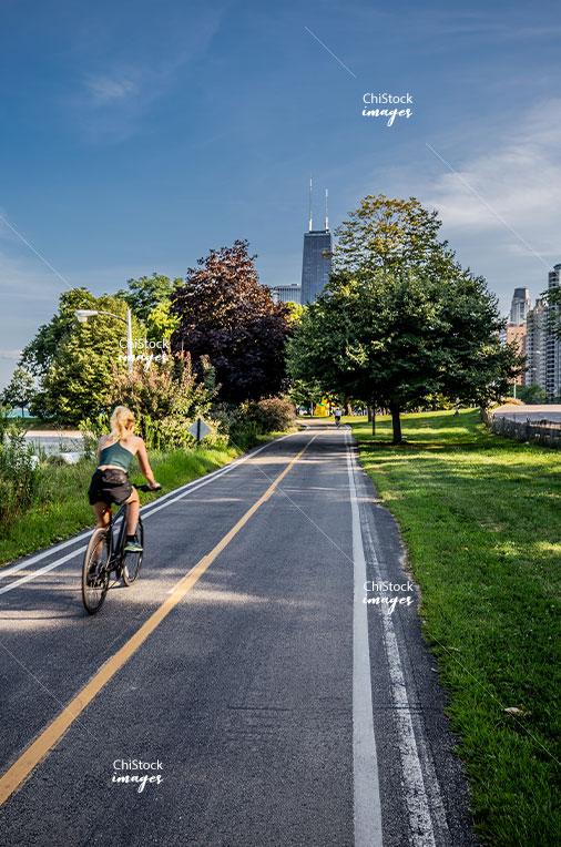 Biking along the Lakefront Trail in Near North Side