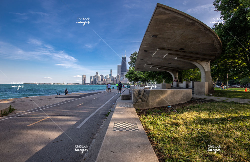 People Running and Biking along the Lakefront Trail in Near North Side Chicago